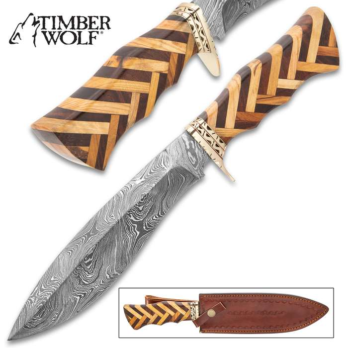 """Timber Wolf Handcrafted Heartwood Knife And Sheath - Twist Pattern Damascus Steel Blade, Heartwood Handle, Brass Guard - Length 14 1/2"""""""