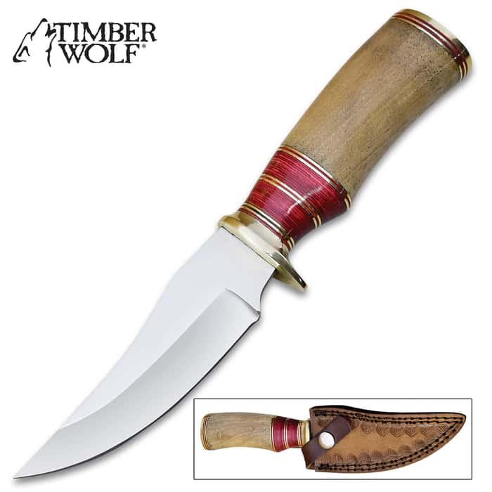 "Timber Wolf Absaroka Range Skinner Knife With Sheath - Stainless Steel Blade, Walnut Wood Handle, Brass Guard And Pommel - Length 9"""