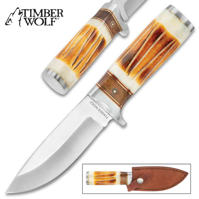 """Timber Wolf River Canyon Knife With Sheath - Stainless Steel Blade, Stag Bone And Wood Handle, Rosette Accent - Length 8 3/4"""""""