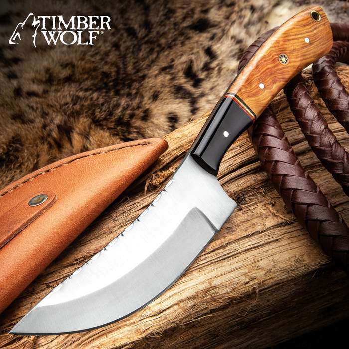 """Timber Wolf Alpine Skinner Knife With Sheath - Stainless Steel Blade, Wooden Handle Scales, Fileworked Spine - Length 9"""""""