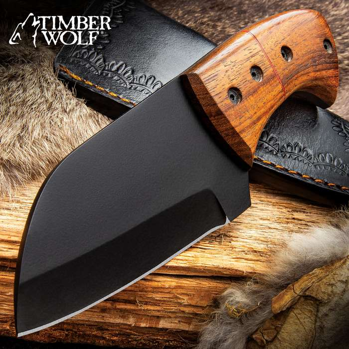 Timber Wolf Pyrenees Knife With Sheath - Carbon Steel Blade, Matte Black Finish, Wooden Handle Scales - Length 7 1/4""