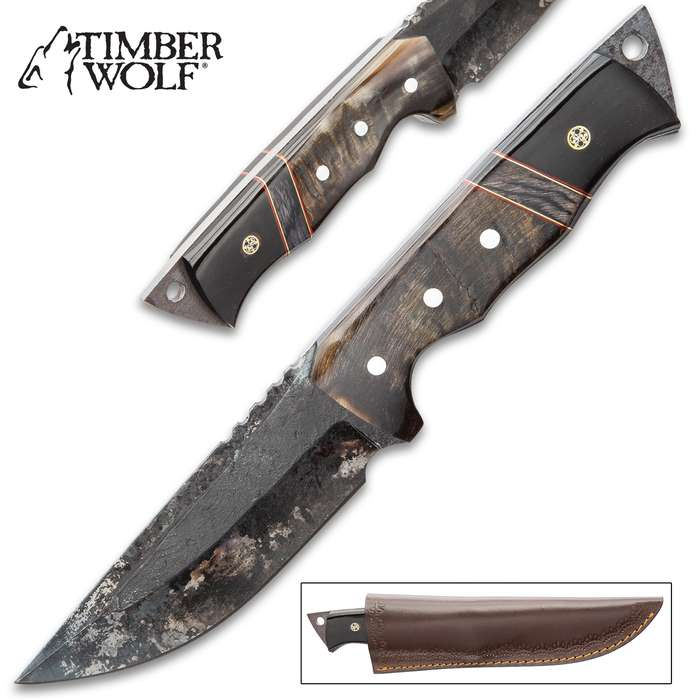 Timber Wolf Ram Horn Knife With Sheath - Carbon Steel Blade, Rough Forged, Ram Horn Handle Scales - Length 10 1/4""