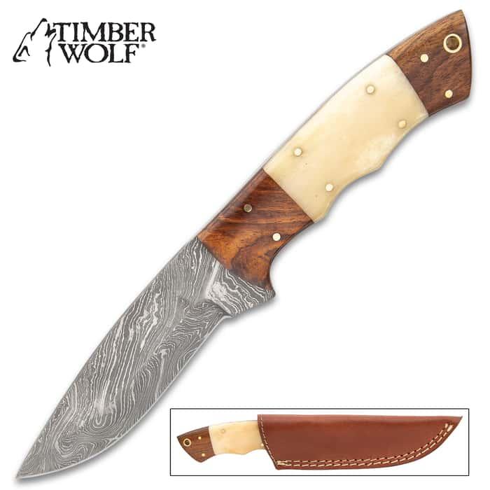 "Timber Wolf Doe Run Knife With Sheath - Damascus Steel Blade, Wood And Bone Handle, Brass Pins - Length 9"""