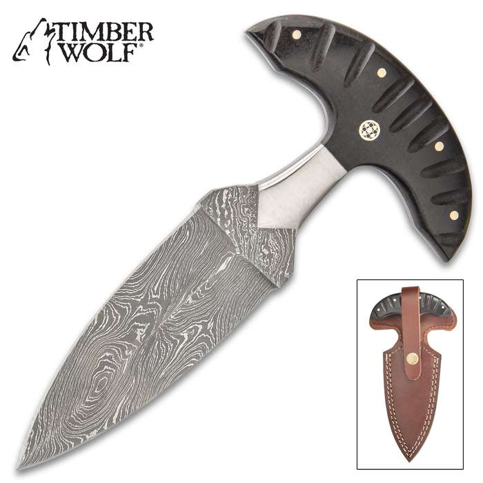 "Timber Wolf River Gambler Push Dagger With Sheath - Damascus Steel Blade, Micarta Handle, Brass Pins, Rosette Accent - Length 7 1/4"""