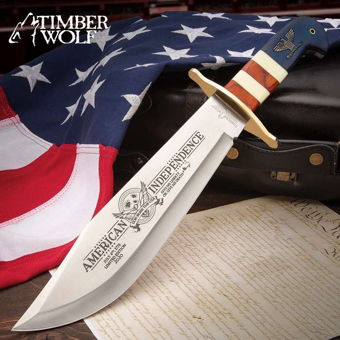"""Timber Wolf 2020 American Independence Bowie With Sheath - 3Cr13 Stainless Steel Blade, Wood And Bone Handle, Brass Guard - Length 16"""""""