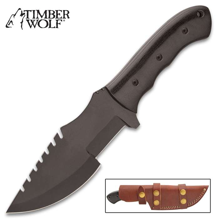 Timber Wolf Philistine Knife With Sheath - Carbon Steel Blade, Non-Reflective Finish, Micarta Handle, Lanyard Hole - Length 9 3/4""