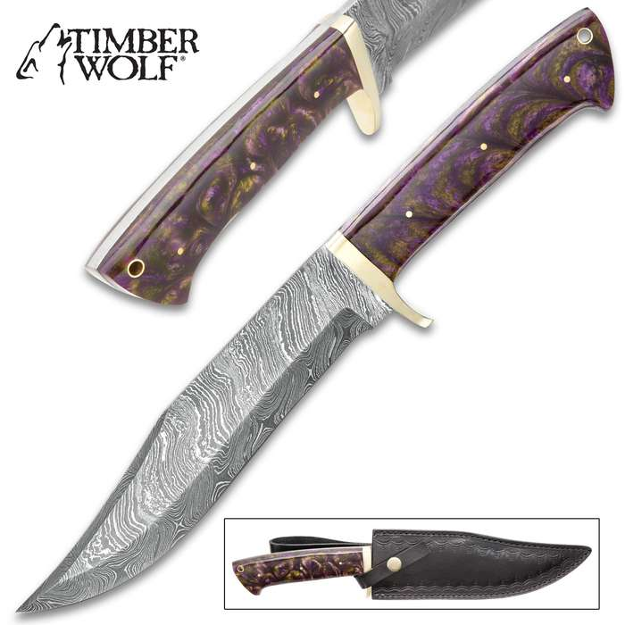 """Timber Wolf Vervain Bowie Knife With Sheath - Damascus Steel Blade, Fuzion Handle Scales, Brass Guard, Lanyard Hole - Length 13 3/4"""""""