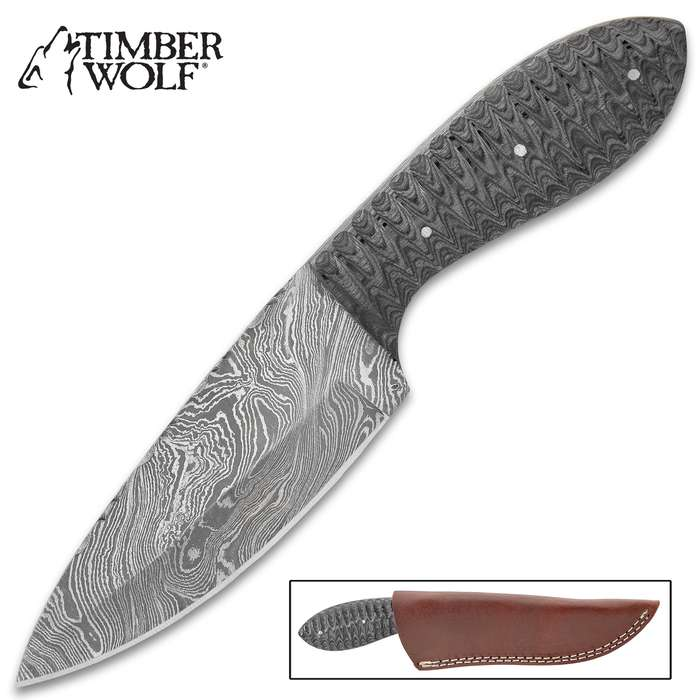 """Timber Wolf River Bottom Knife With Sheath - Damascus Steel Blade, Fileworked Spine, Pakkawood Handle Scales - Length 9"""""""
