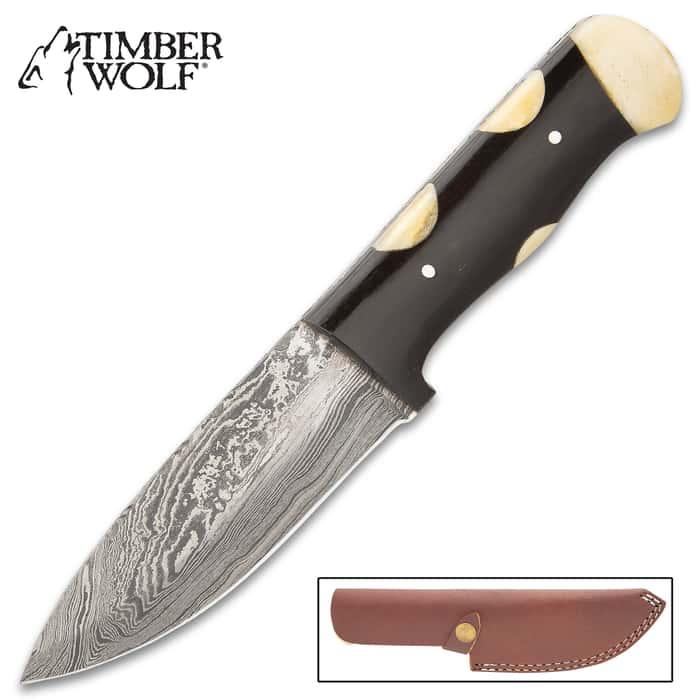 "Timber Wolf Appaloosa Knife With Sheath - Damascus Steel Blade, Buffalo Horn And Camel Bone Handle Scales - Length 9"""