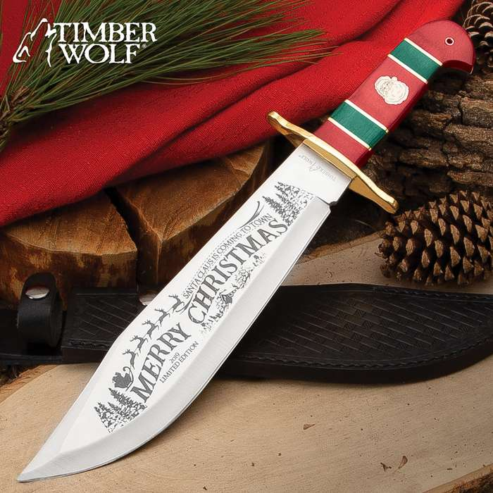 """Timber Wolf Limited Edition 2019 Christmas Bowie Knife And Sheath - Stainless Steel Blade, Wooden Handle Scales, Brass Guard - Length 16"""""""