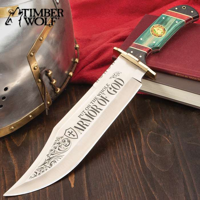 Timber Wolf Armor Of God Bowie Knife With Sheath - Stainless Steel Blade, Wooden Handle Scales, Brass Handguard - Length 16 3/4""