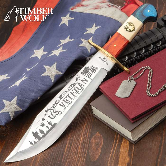 Timber Wolf United States Veteran Bowie Knife And Sheath - Stainless Steel Blade, Wooden Handle Scales - Length 16""