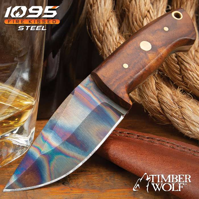 """Timber Wolf Trial By Fire Skinner Knife And Sheath - 1095 Fire Kissed Carbon Steel Blade, Hardwood Handle, Brass Pins - Length 6 1/4"""""""