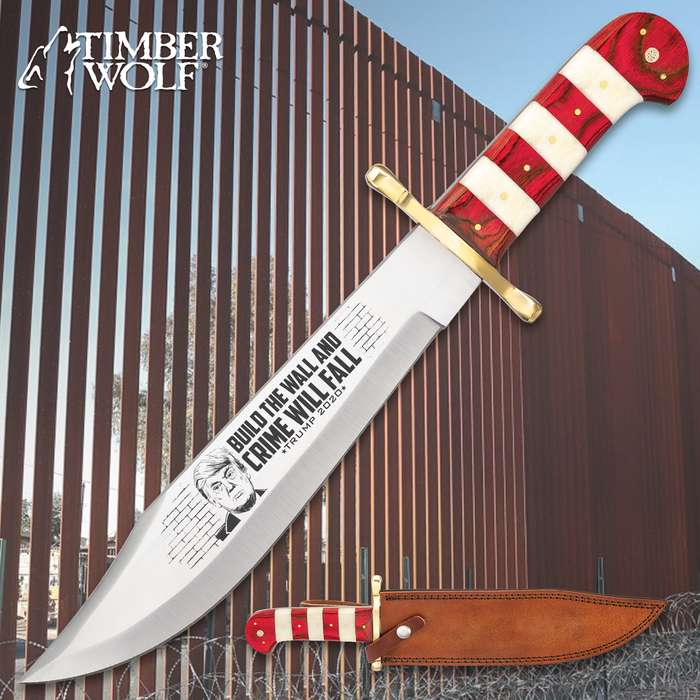 """Timber Wolf Limited Edition Trump Build The Wall Bowie Knife - Stainless Steel Blade, Bone And Wooden Handle, Brass Guard And Pins - Length 16"""""""