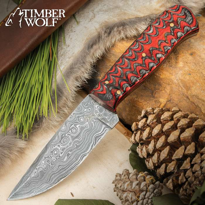 Timber Wolf Ripple Creek Hunting Knife With Sheath - Damascus Steel Blade, Wooden Handle Scales, Brass Pins - Length 8 1/4""