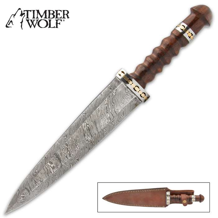 The Timber Wolf Maghreb Damascus Dagger is a finely crafted, yet completely functional piece that's perfect for display