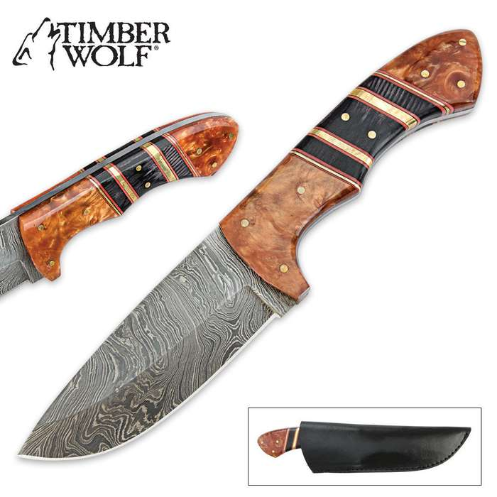 Timber Wolf Custom Stripes Damascus Fixed Blade Hunting Knife