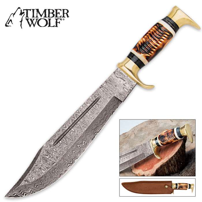 Timber Wolf Golden Stag Bowie Knife