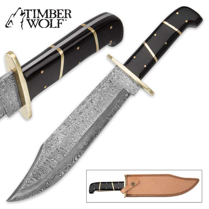 Timber Wolf Bison Gorge Damascus Bowie Knife with Leather Sheath