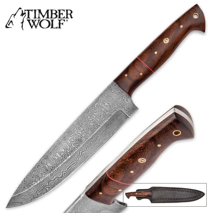 Timber Wolf Cheyenne Multipurpose Fixed Blade Knife - Damascus Steel and Tali Wood