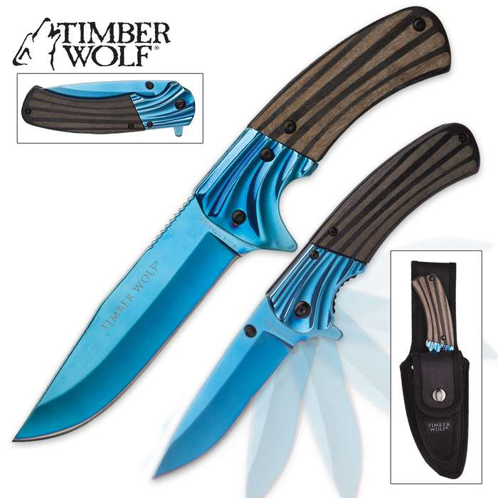 Timber Wolf Twin Rapids Knife Set with Sheath | Assisted Opening Folder And Fixed Blade | MetallicBlue