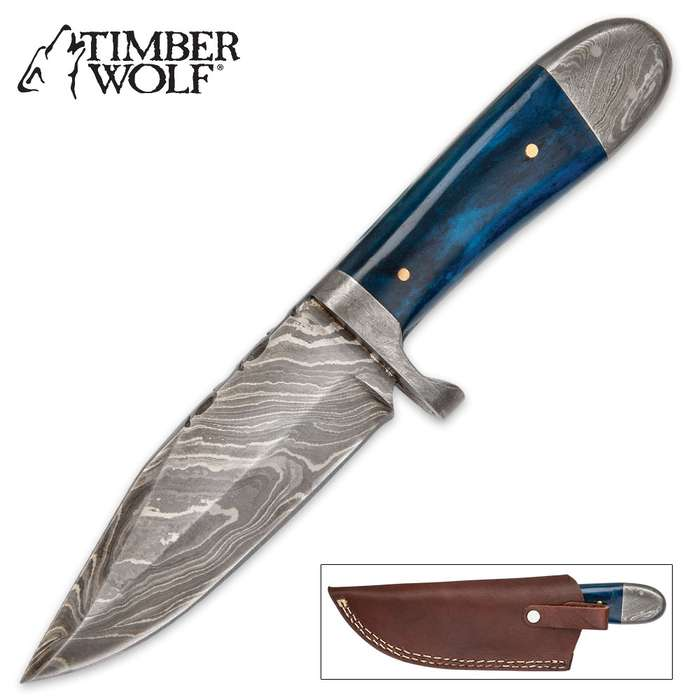 Timber Wolf Blue Bone Hunter Knife