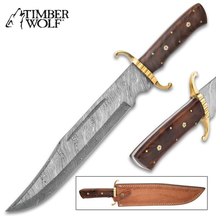 """Timber Wolf South Dakota Stalker Fixed Blade Knife And Leather Sheath - Damascus Steel Blade, Wooden Handle, Rosette Accents - Length 15 1/2"""""""