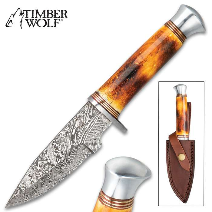 Timberwolf Australian Outback Fixed Blade Knife - Damascus Steel Blade, Genuine Burnt Bone Handle, Stainless Steel Guard And Pommel - Length 9""