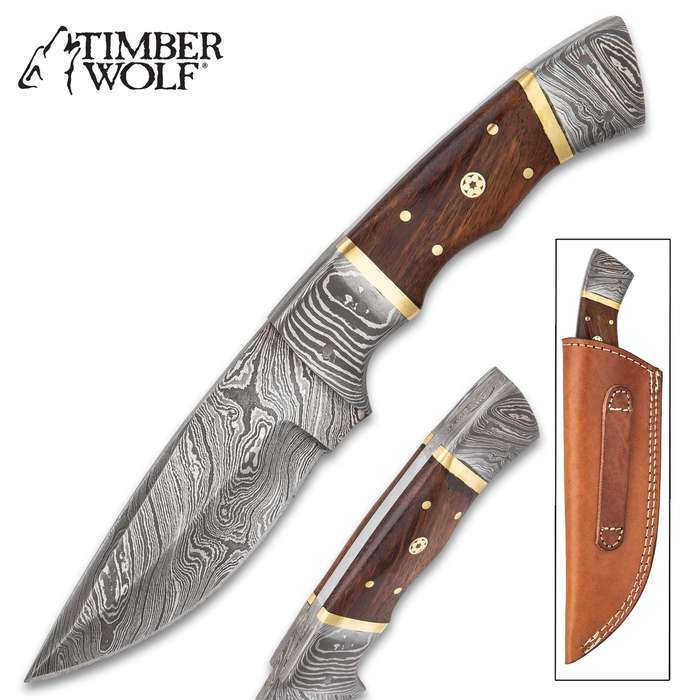 """Timber Wolf Alpine Fixed Blade Knife With Sheath - Damascus Steel Blade, Wooden Handle, Brass Accents - Length 9"""""""