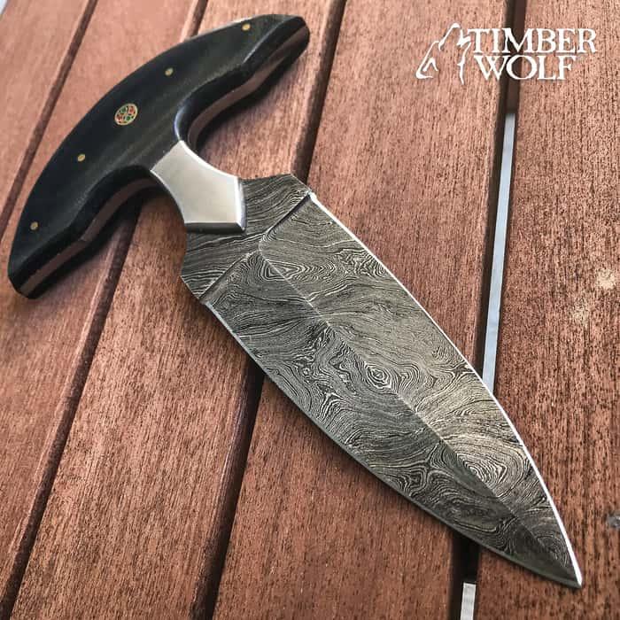 """Timber Wolf Damascus And Linen Micarta Push Dagger - Damascus Steel Blade, Linen Micarta Handle, Brass Pins, Rosettes - Length 7 3/4"""""""