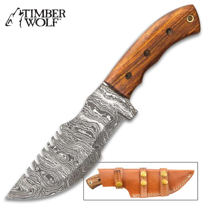 Timber Wolf Mountain Tracker Knife With Sheath - Damascus Steel Blade, Sawback, Wooden Handle Scales, Lanyard Hole - Length 10""