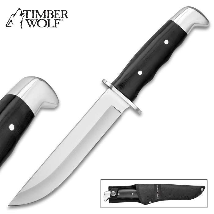 """Timber Wolf Black Sentry Fixed Blade Knife - Stainless Steel Blade, G10 Handle, Stainless Steel Pins - Length 11"""""""