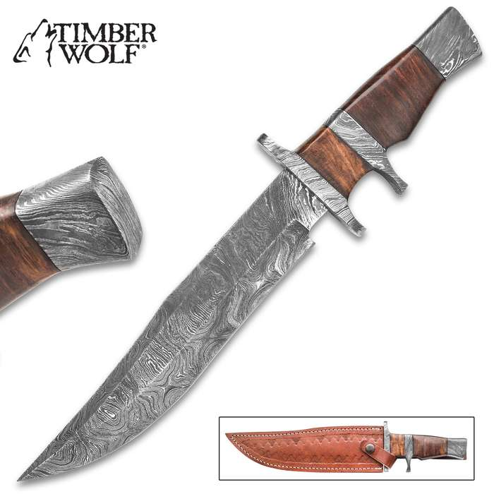 """Timber Wolf Ascension Bowie / Fixed Blade Knife - Hand Forged Damascus Steel - Sub Hilt; Heartwood  - Genuine Leather Sheath - Collecting Collection Display Outdoors Hunting Camping - 14"""""""