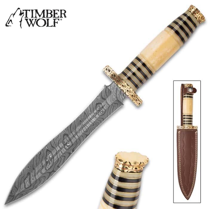 "Timber Wolf Rameses Dagger With Sheath - Damascus Steel Blade, Bone And Horn Handle, Brass Pommel - Length 13 1/4"""