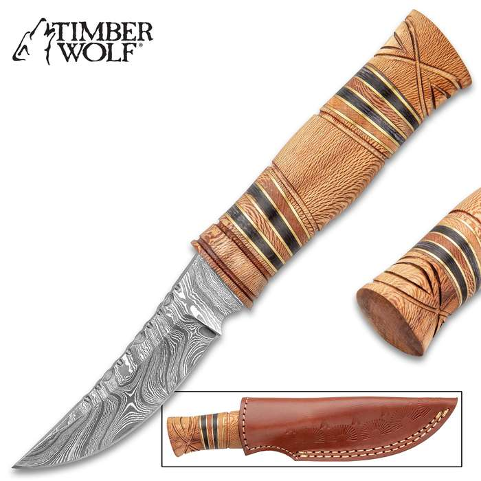 """Timber Wolf Olive Mount Knife And Sheath - Damascus Steel Blade, Fileworked Spine, Olive Wood Handle - Length 7 3/4"""""""
