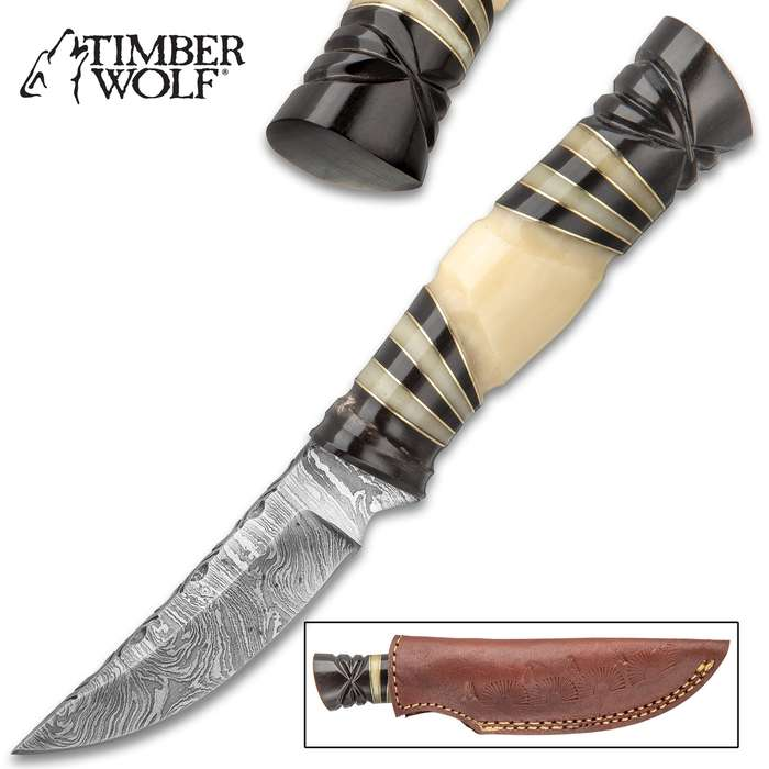 """Timber Wolf Pygmy Fixed Blade Knife With Sheath - Damascus Steel Blade, Genuine Horn Handle, Brass Spacers - Length 8 3/4"""""""