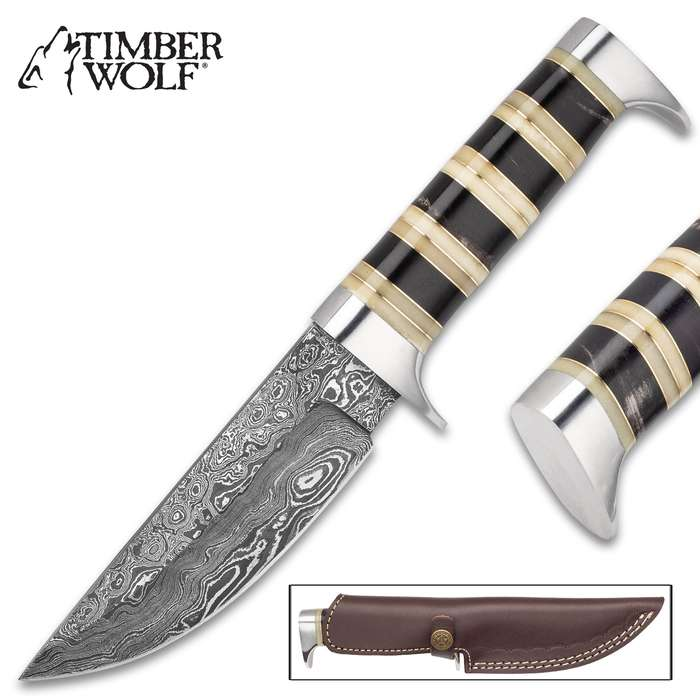 """Timber Wolf Assyrian Empire Fixed Blade Knife With Sheath - Damascus Steel Blade, Horn And Bone Handle - Length 9 1/4"""""""