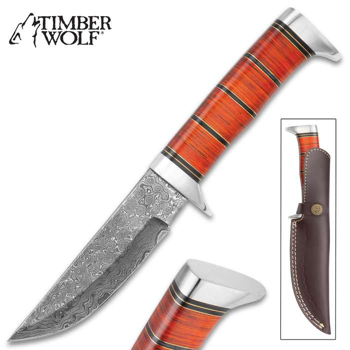 """Timber Wolf Red Rock Canyon Knife With Sheath - Damascus Steel Blade, Genuine Horn Handle, Brass Spacers - Length 11 1/4"""""""