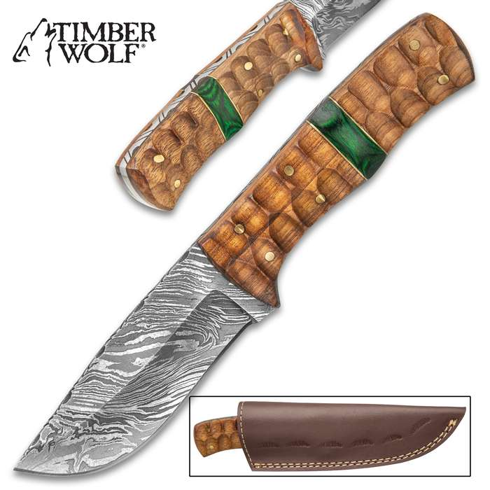 """Timber Wolf River God Fixed Blade Knife With Sheath - Damascus Steel Blade, Walnut Wood Handle - Length 7 3/4"""""""