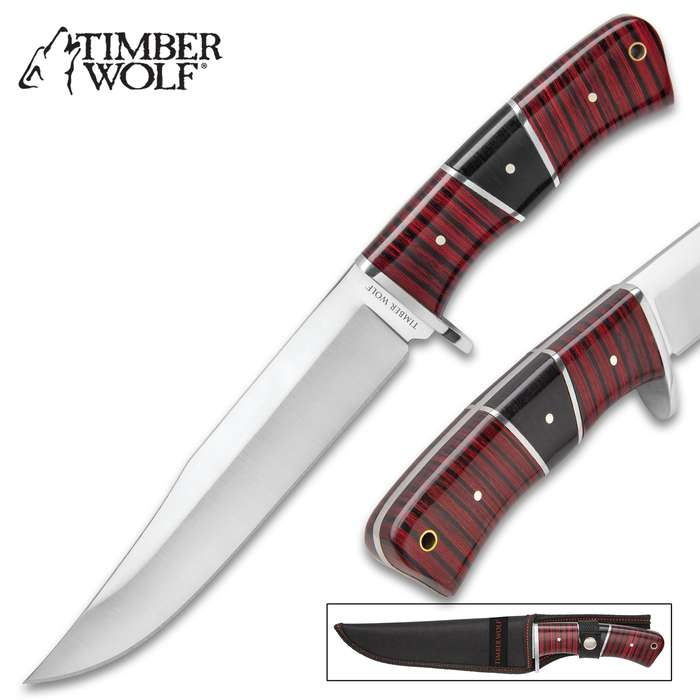 """Timber Wolf Providence Canyon Fixed Blade Knife With Sheath - 3Cr13 Stainless Steel Blade, Full-Tang, Wooden Handle - Length 12"""""""