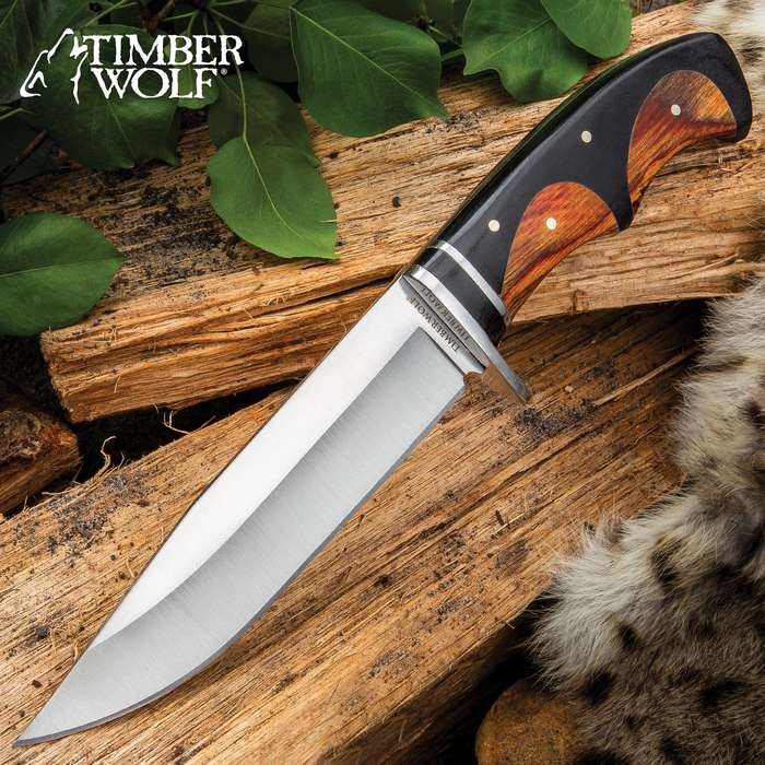 """Timber Wolf Peruvian Fixed Blade Knife With Sheath - 3Cr13 Stainless Steel Blade, Wooden Handle, Stainless Steel Guard - Length 10 3/4"""""""