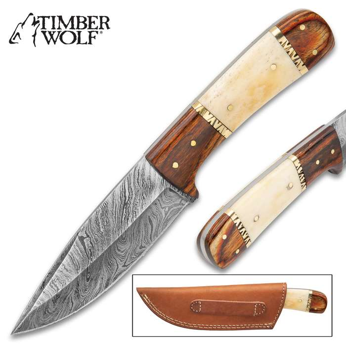 """Timber Wolf Workhorse Fixed Blade Knife - Damascus Steel Blade, Wood And Bone Handle, Brass Pins And Spacers - Length 9"""""""
