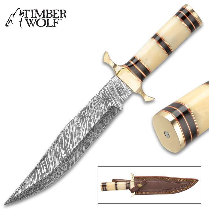 "Timber Wolf Tippecanoe Battle Knife With Sheath - Damascus Steel Blade, Bone And Buffalo Horn Handle, Brass Guard - Length 14"""