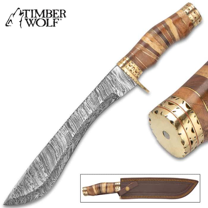 "Timber Wolf Primeval Canyon Machete And Sheath - Damascus Steel Blade, Walnut Wood Handle, Brass Handguard - Length 15 1/4"""