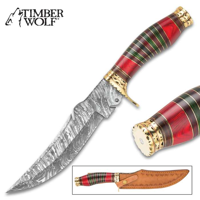 """Timber Wolf Swansong Handmade Bowie / Fixed Blade Knife - Hand Forged Damascus Steel, File Worked Scalloping - Banded Green, Amber Walnut - Scalloped, Grooved Brass - Genuine Leather Sheath - 12"""""""