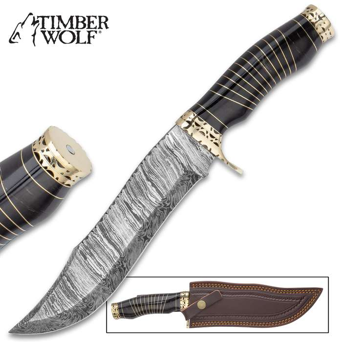 Timber Wolf Anubis Fixed Blade Knife With Sheath - Damascus Steel Blade, Genuine Buffalo Horn Handle - Length 13 1/4""