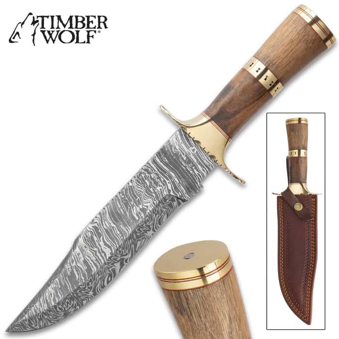 "Timber Wolf Tutankhamun Fixed Blade Knife With Sheath - Damascus Steel Blade, Fire Pattern, Walnut Handle, Brass Handguard - Length 13 1/2"""