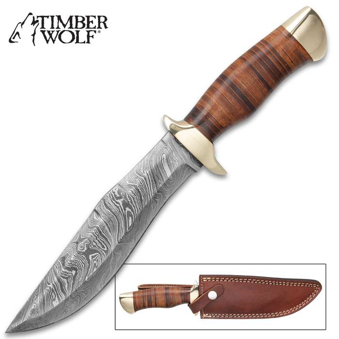 """Timber Wolf Petra Temple Knife With Sheath - Damascus Steel Blade, Stacked Wooden Handle, Brass Pommel And Guard - Length 12"""""""