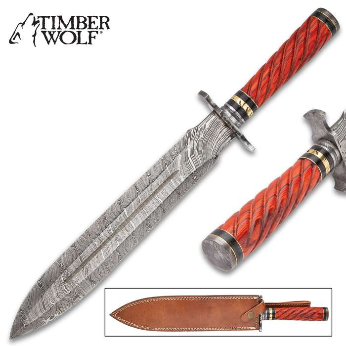 """Timber Wolf Temple Guard Short Sword With Sheath - Damascus Steel Blade, Wooden Handle, Fileworked Guard, Brass Accents - Length 18"""""""