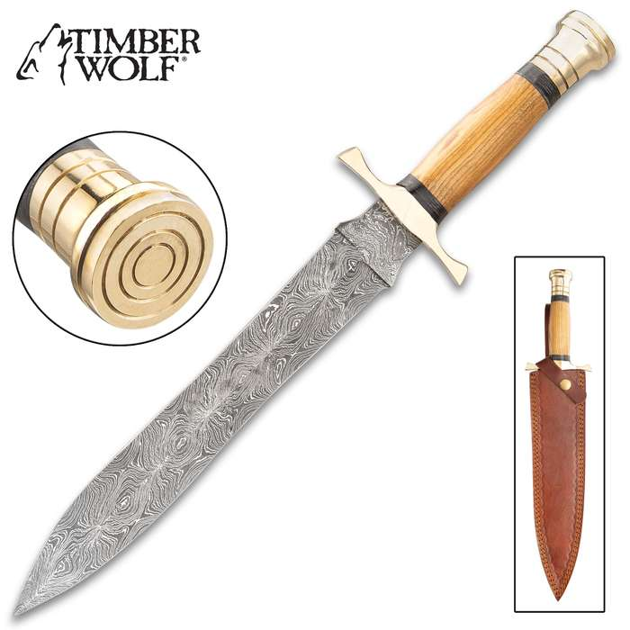 Timber Wolf Sumerian Dagger With Sheath - Damascus Steel Blade, Wooden Handle, Brass Handguard And Pommel - Length 16""